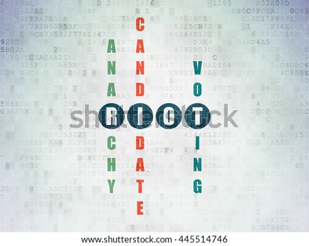 Political concept: Painted blue word Riot in solving Crossword Puzzle on Digital Data Paper background - stock photo