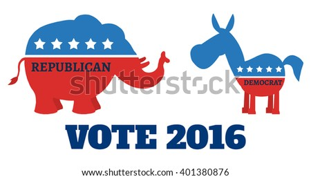 Political Elephant Republican Vs Donkey Democrat. Raster Illustration Flat Design Style Isolated On White With Text Vote 2016 - stock photo