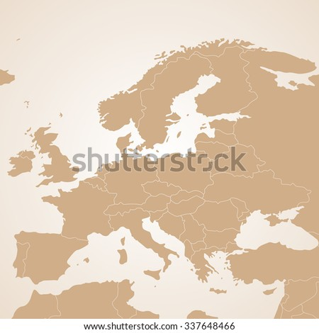 Political Europe  brown map with state borders, illustration. - stock photo