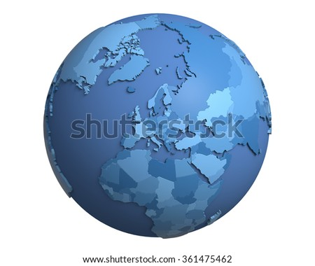 Political globe with blue, extruded countries, centered on Europe
