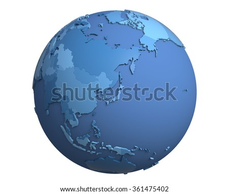 Political globe with blue, extruded countries, centered on Japan