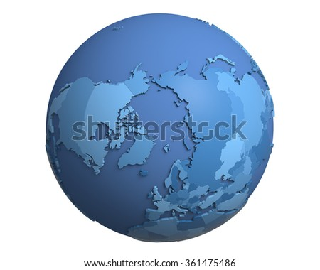 Political globe with blue, extruded countries, centered on the North Pole - stock photo