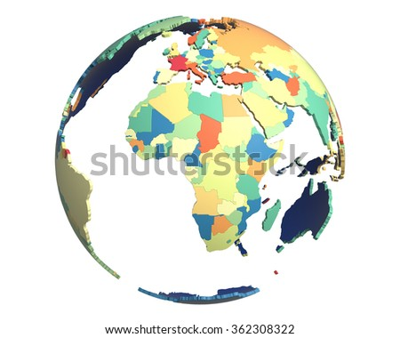 Political globe with colored, extruded countries, centered on Africa
