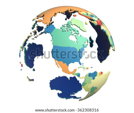 Political globe with colored, extruded countries, centered on North America