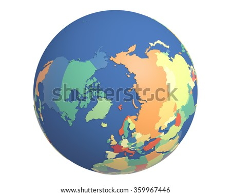 Political globe with colored, extruded countries, centered on the North Pole