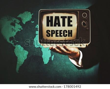 political hate speech in tv - stock photo
