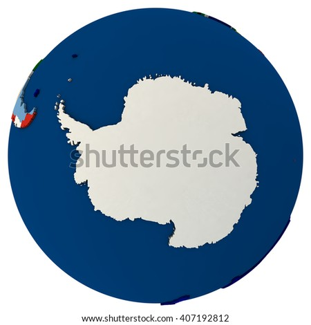 Political map of Antarctica with each country represented by its national flag.  3D Illustration isolated on white background. - stock photo