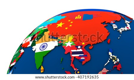 Political Map Asia Each Country Represented Stock Illustration - Political map of asia