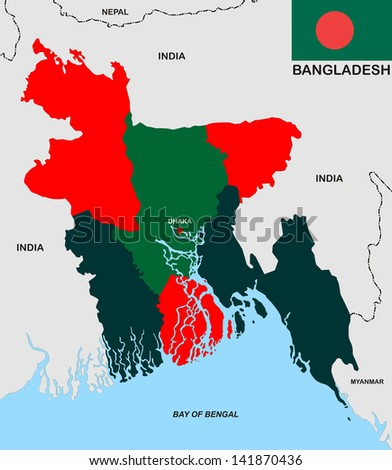 political map of bangladesh country with flag illustration