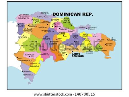 Political Map Dominican Republic Stock Illustration 148788515