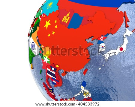 Political Map East Asia Each Country Stock Illustration 404533972 ...