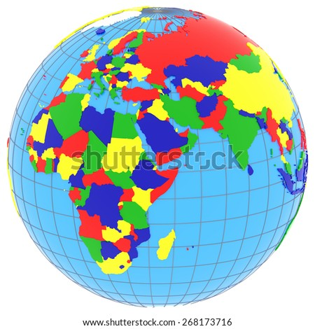 Political map of Eastern Hemisphere with countries in four colors, isolated on white background.