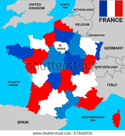 political map of france with regions in different colors with flag and neighbors