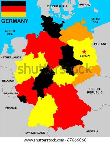 political map of germany with neighbors