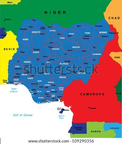 Political map of Nigeria - stock photo