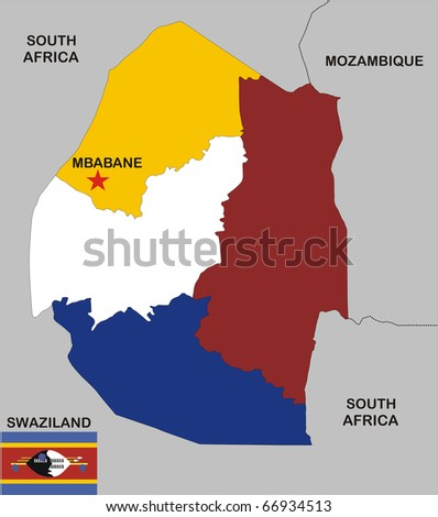 political map of Swaziland country with flag and regions - stock photo