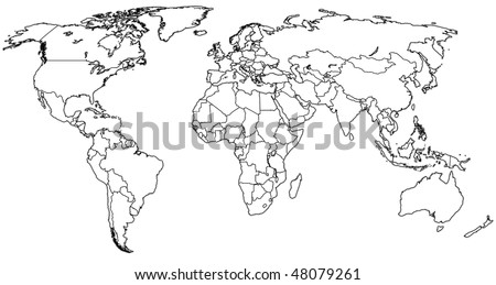 political map of world with country territories - stock photo