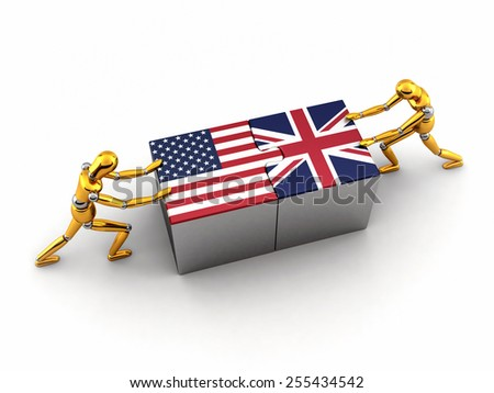 Political or financial concept of the USA struggling and finding a solution with the United Kingdom - stock photo