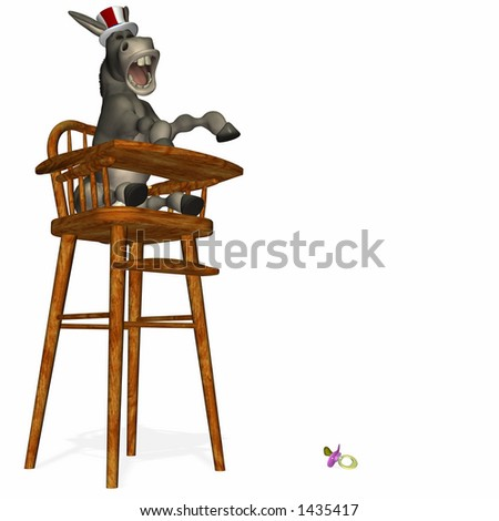 Political Party - Donkey in a highchair. Throwing a tantrum over a dropped pacifier.