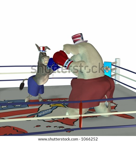 Political Party Sporting Event Boxing Democrat point of view - stock photo
