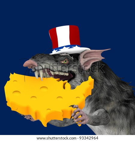 Political Rat - a political rat wearing a red, white, and blue hat holding and eating a piece of cheese shaped like the continental united states. Political humor. - stock photo