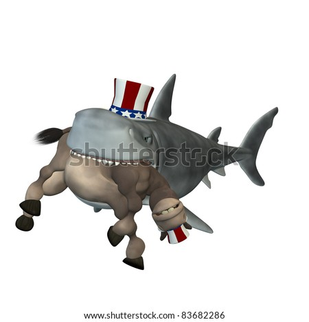 Political Shark - Democrat. A cartoon shark with a Democrat donkey in his mouth. Political humor. - stock photo