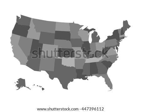 Vector Political Usa Map Isolated On Stock Vector - Political us map