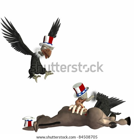 Political vulture Attack.  Vultures feasting on a donkey. Political humor.  Isolated on a white background. - stock photo