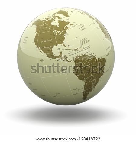Political world globe on white isolated background. 3d - stock photo