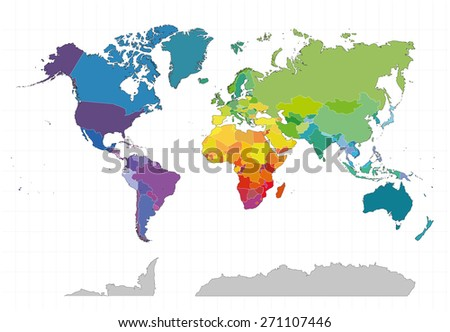 Political world map on white background. Colored by countries.