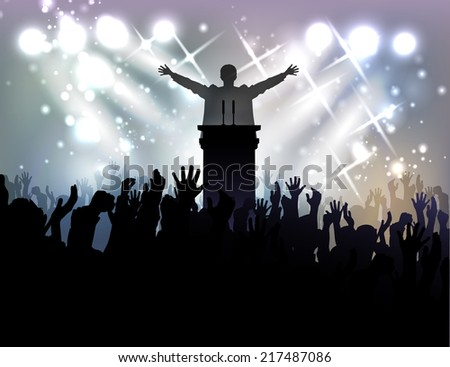 politician before audience at the background with spotlights - stock photo