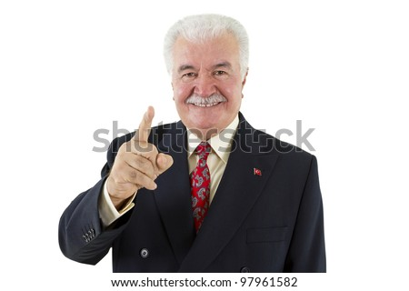 Politician making a point by pointing his finger - stock photo