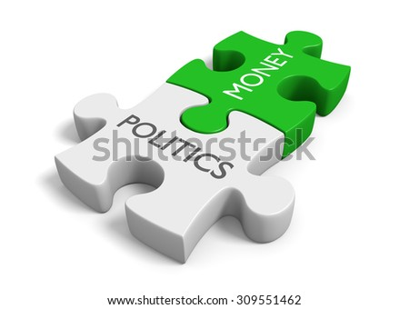 Politics and money puzzle pieces representing the corruption of wealth in elections - stock photo