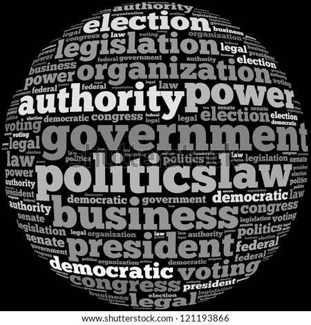 politics info-text graphics and arrangement concept on black background (word cloud) - stock photo