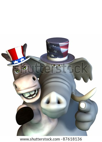 Politics - Siamese Twins. Republican Elephant and Democrat Donkey sharing one body.  Looking stern and pointing at the viewer. - stock photo