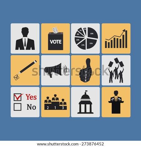 Politics, Voting and elections icons -  icon set - stock photo