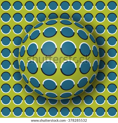 Polka dot ball rolling along the polka dot surface. Abstract optical illusion illustration. Extravagant background and tile of  wallpaper. - stock photo