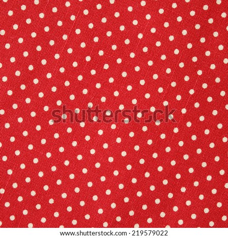 Polka dot on red canvas cotton texture, fabric background - stock photo
