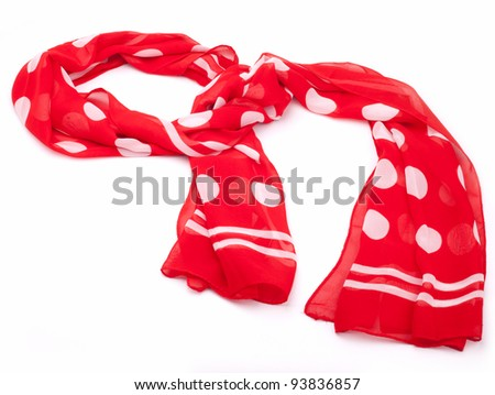 Polka dot scarf isolated on white background - stock photo