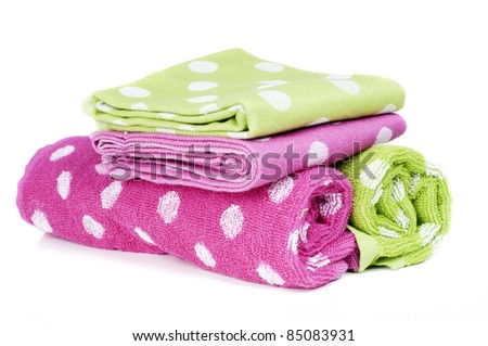 polka dots dish towels - stock photo
