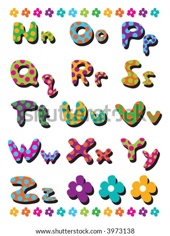 polka dots fun alphabets N to Z (raster) - illustration for kids / part 2 of a full set - stock photo