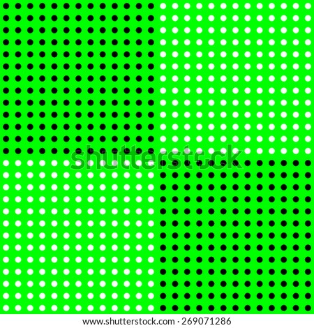 polka dots pattern on solid green background - stock photo