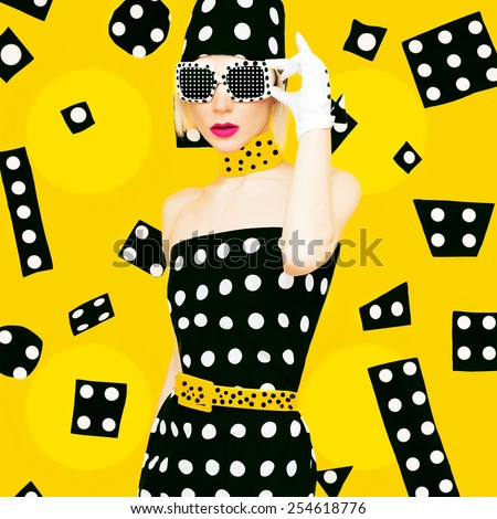 Polka Dots Vintage Lady. Glamorous Fashion Disco Style. - stock photo