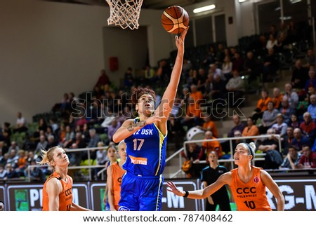POLKOWICE, POLAND - JANUARY 03; 2018: Women basketball Euroleague match CCC Polkowice - ZVVZ USK Praha 51:61. In action Amanda Zahui.