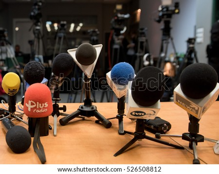 POLKOWICE, POLAND - NOVEMBER 30, 2016: Microphones prepared for press conference Polish Premier Beata Szydlo.