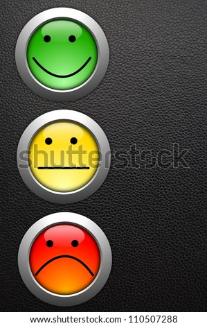 poll or customer satisfaction survey concept with smilie button