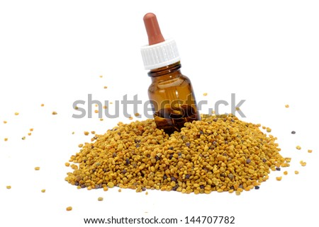 Pollen with pipette bottle - stock photo