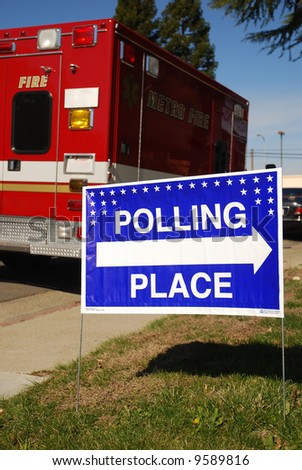 Polling place sign outside of a fire station - stock photo