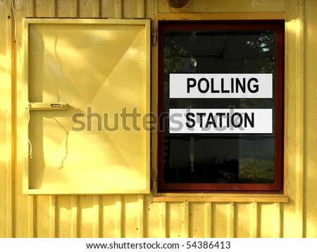 Polling station place for voters to cast ballots in elections - stock photo