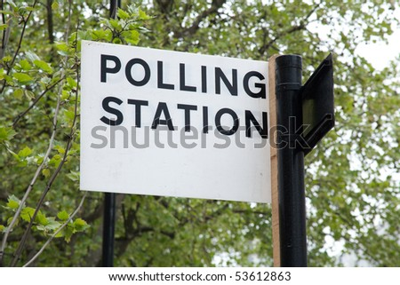 Polling Station sign, London, England.